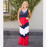 Mother Daughter Matching Long Maxi Dress - Red and Black - Bathing Suit Hub
