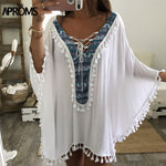 White Tunic Cover Up Tassels - Bathing Suit Hub