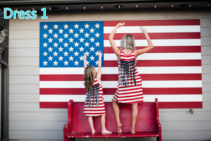 Summer Style Mommy and My Fashion Stars and Stripes Sleeveless Mother and Daughter Clothes Family Matching Outfits Dress - Bathing Suit Hub