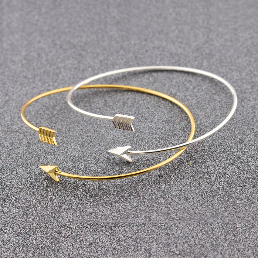 Stainless Steel Arrow Feather Open Bracelets - Bathing Suit Hub