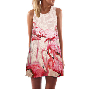 Floral Printed Flamingo Dress Women Feather Elegant Graceful Beach Dress Vestidos Robe Femme Mini Dress Slim Pattern Dropship