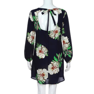 Womens Casual Long Sleeve Print Floral Ladies O-Neck Bow Mini Dress