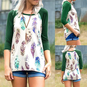 Plus Size Women's  Feather Print Loose Long Sleeve Top Blouse Fashion T-shirt