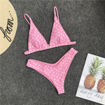 Sexy Swimsuit Swimwear Bathing Suit Women Red Bikinis Heart Print Beach Wear Maillot De Bain Femme