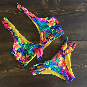 2018 Sexy Bikini Swimwear Women Push Up Swimsuit Bandage Bikini Set Brazilian Summer Beach Bathing Suits female Biquini Print