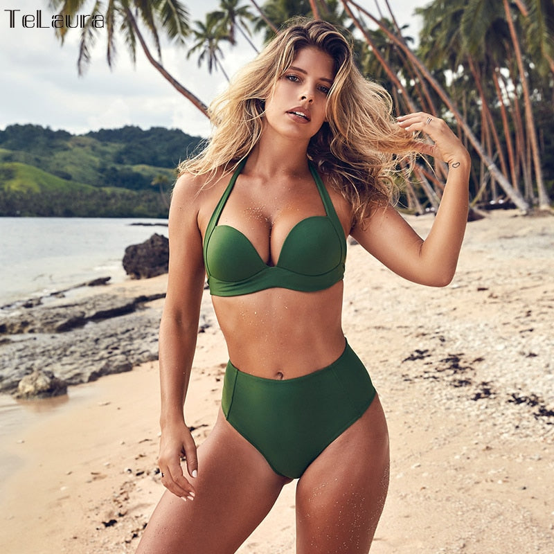 TeLaura Sexy High Waist Bikini Set Swimwear Women Swimsuit Push Up 2019 Womens Bikini Halter Top Bathing Suit Beachwear Biquini