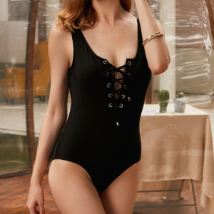 LI-FI 2019 Sexy One Piece Swimsuit Women Swimwear Lace Up Bodysuit Bandage Beach Bathing Suit Monokini Swimsuit Swimming Suit