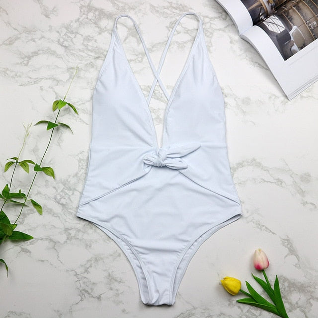 2019 Sexy Swimsuit Women Swimwear One Piece Halter One Piece Push Up Swimsuit Bandage Bathing Suit Wear Female Beachwear 3336