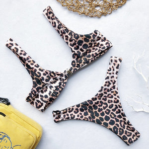 In-X Sexy Leopard one piece swimsuit One shoulder bikini 2019 High cut swimwear women monokini Padded bathing suit New bodysuit