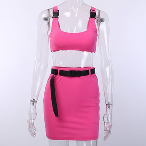 Women 2 Pieces Sets Sexy Buckle Bralette Tank And Skirt With Belt Fashion 2019 Summer Ladies Neon Pink Cropped Top Dress Suit