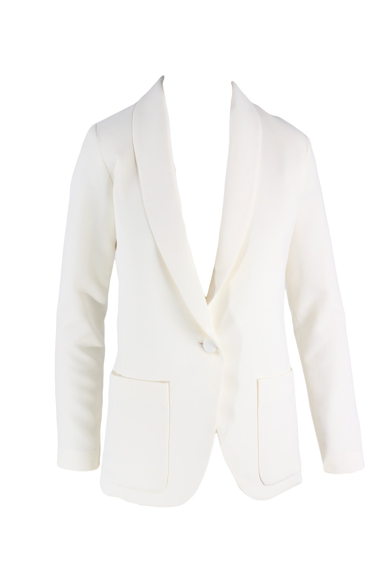 amanda uprichard ivory blazer. features a single button closure, a long decollete line, and two front pockets.