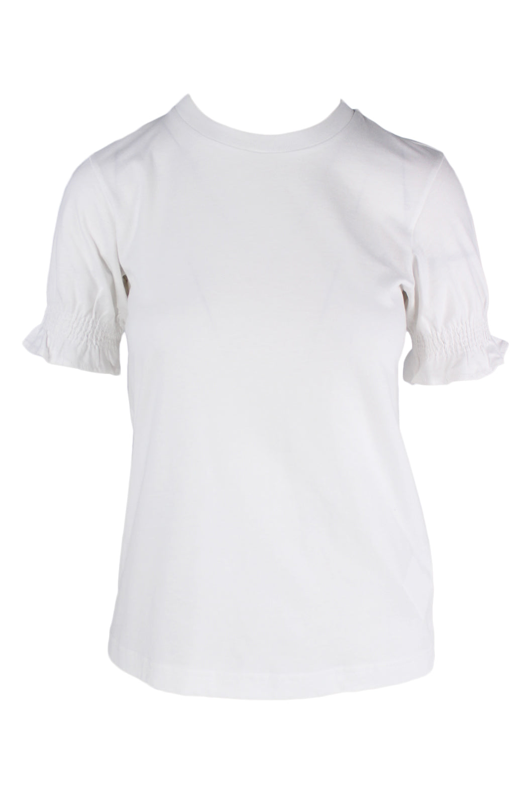 & other stories white short sleeve t-shirt. features ruched sleeve cuffs, and organic cotton material. tags attached.