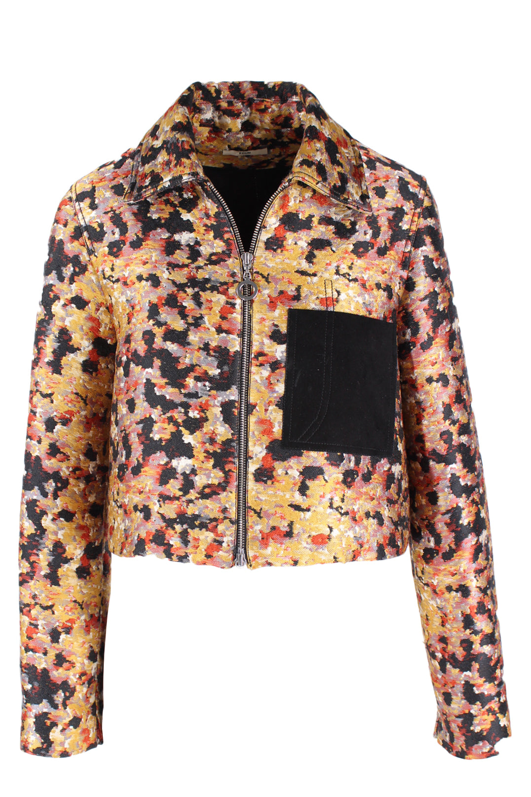 description: edun multicolor jacket. featuring yellow, red, black, and grey embroidery and a black suede pocket detail.