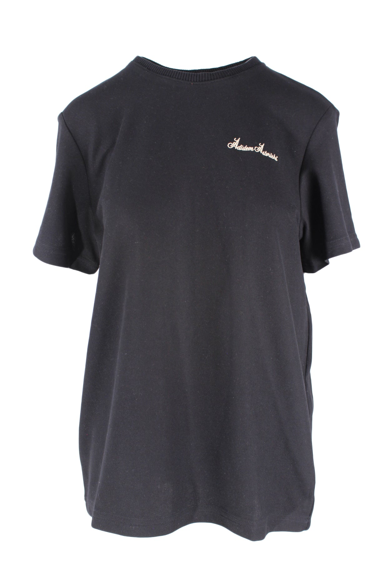 description: adidem asterisks black t-shirt. featuring a ribbed collar and a cream embroidered chest logo.