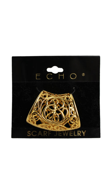 echo gold tone scarf tube cuff. features pattern detail.