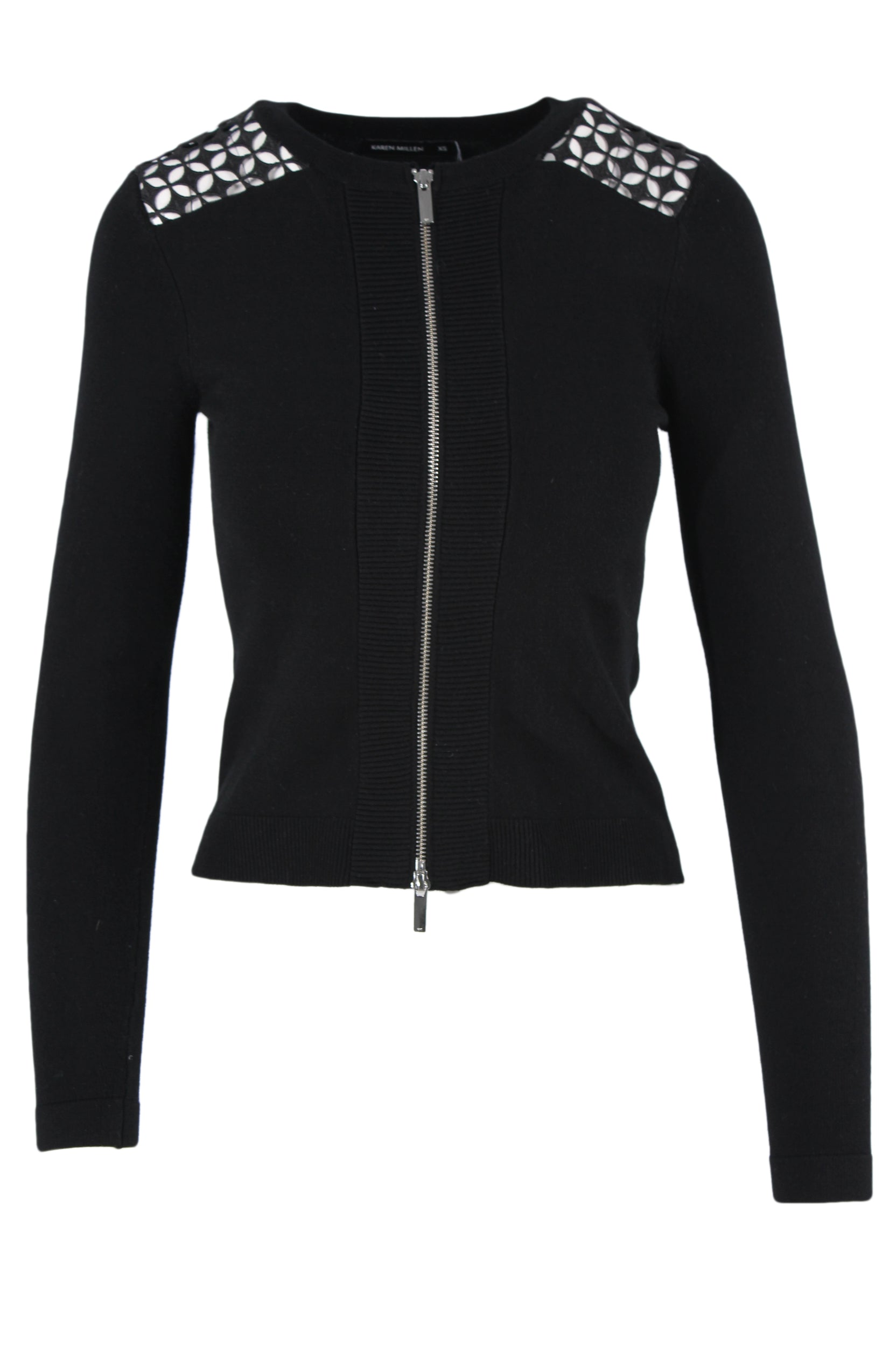 karen millen black knit jacket. features black exterior, silver toned zipper closure, round neckline and tonal cutout embroidered details at shoulders. has high low ribbed hem.