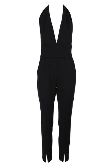 babaton black jumpsuit. features black exterior, halterneck with silver tone clasp and concealed zipper at back.