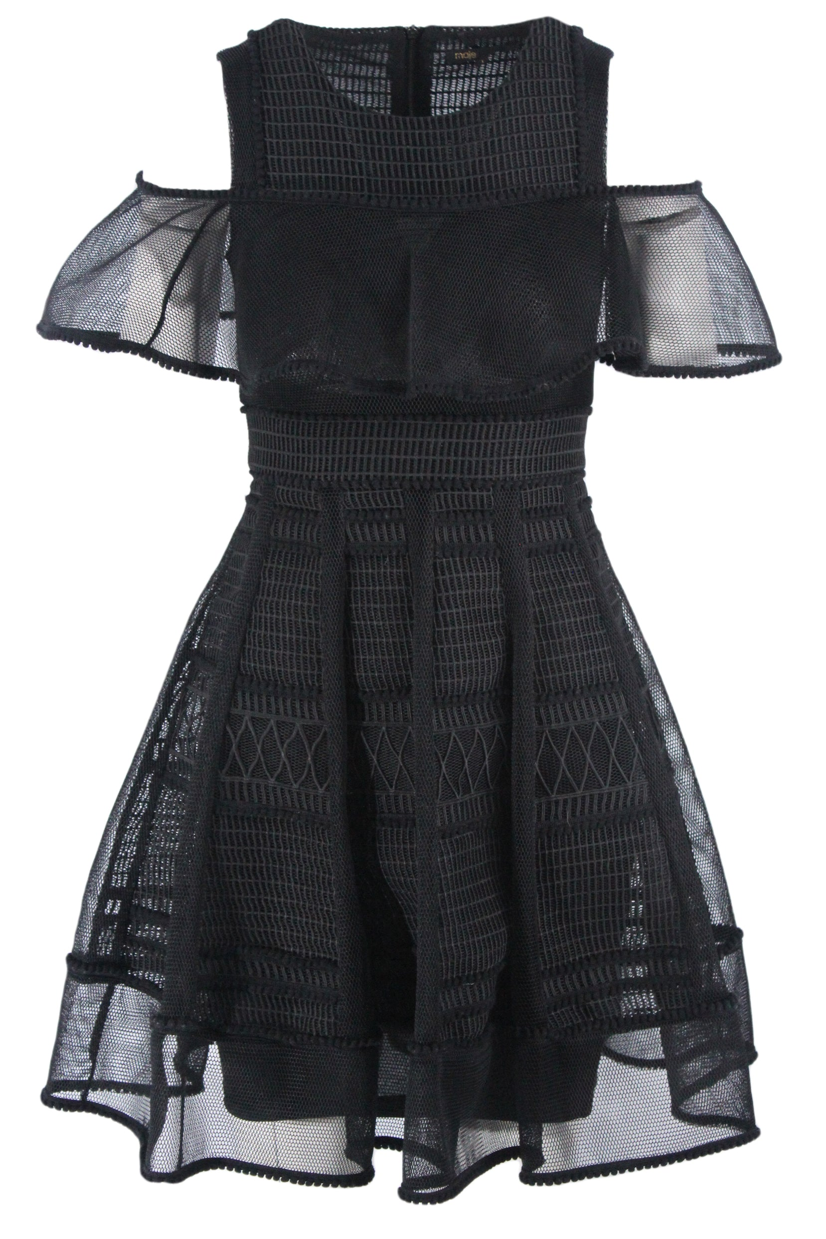 maje black sleeveless/off the shoulder short dress. features a conceptual design mesh petticoat, and a geometric and textured design throughout.