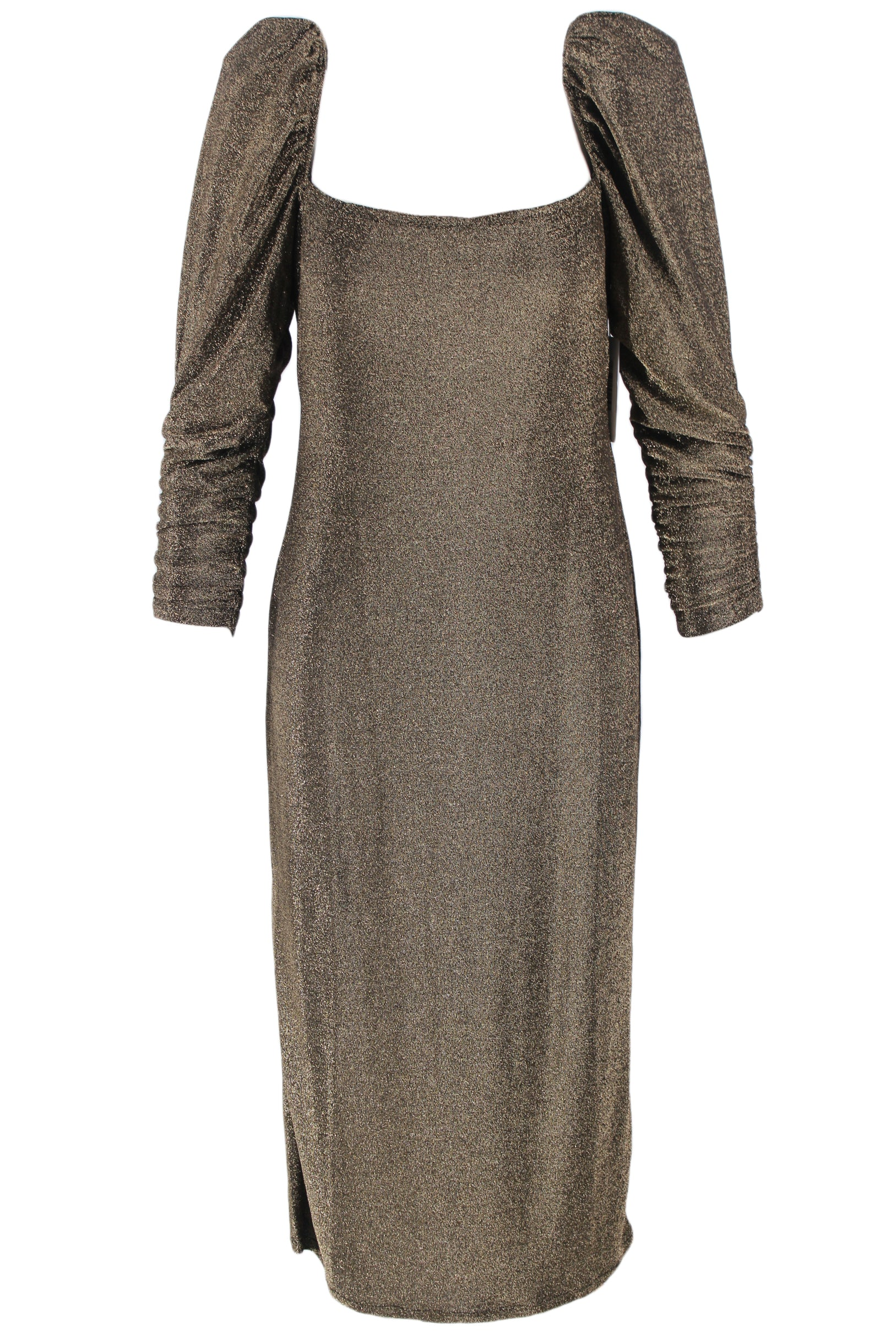 reformation metallic dress. features stretchy metallic exterior, long puff sleeves and square neckline.