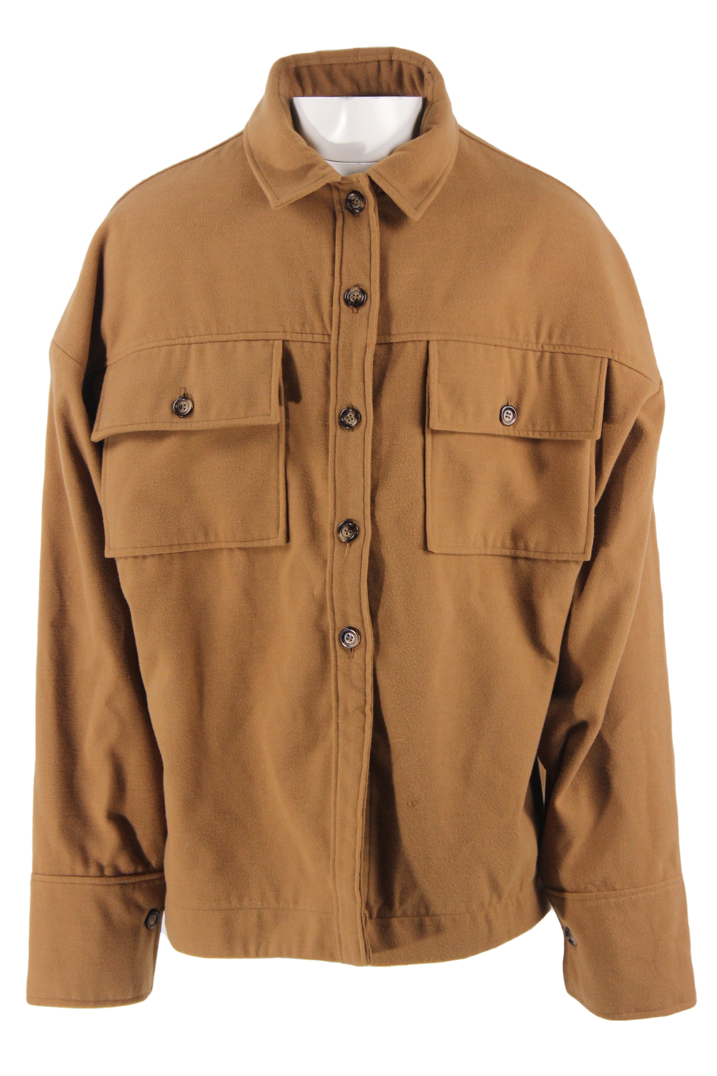 cut peanut brown collared long sleeve top. features a relaxed cut, asymmetrical oversized buttoned sleeve cuffs, a button down closure, & two flap button chest pockets.