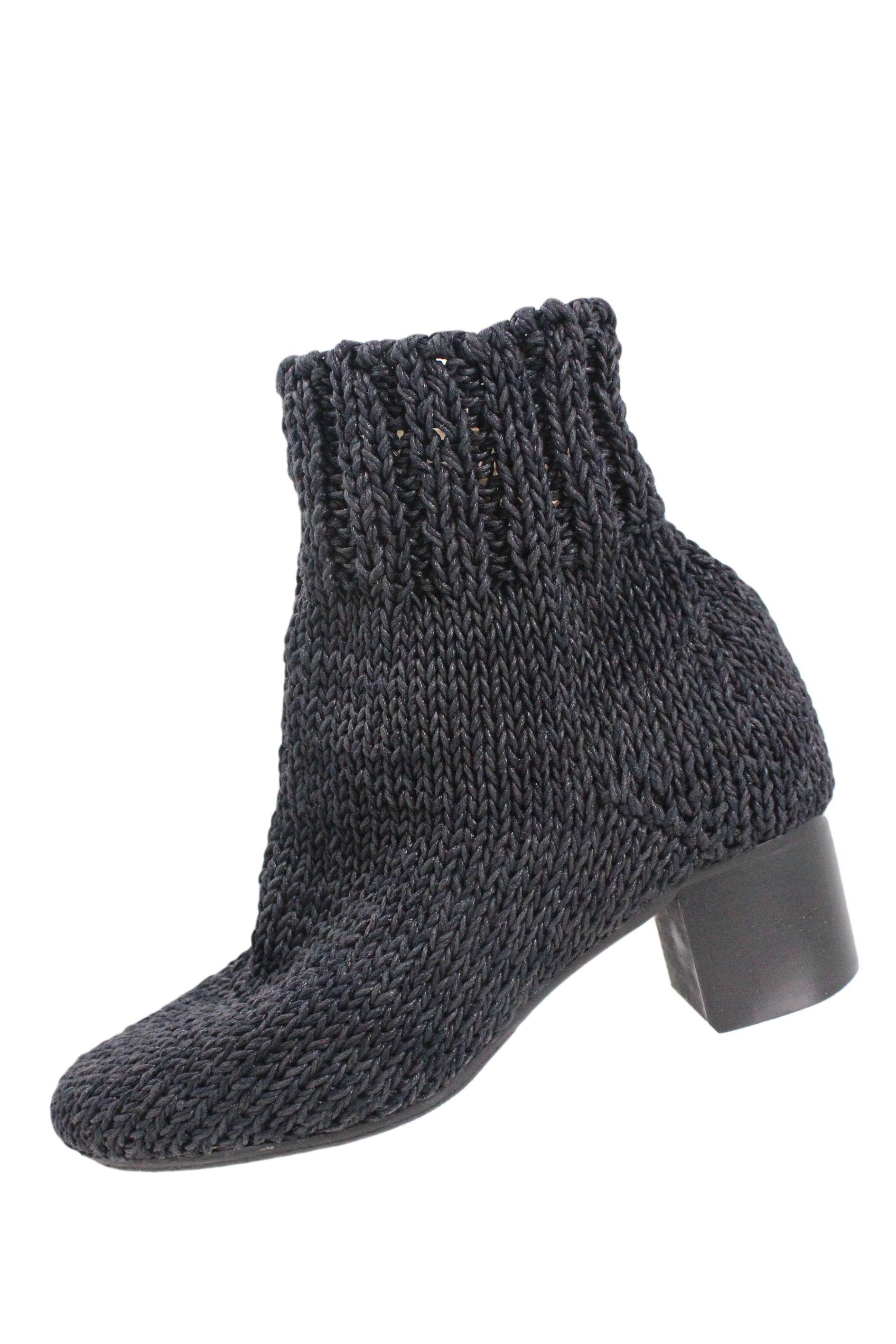 bless charcoal 'eram' round toe knitted booties. featuring coated yarn, partial inner reinforcement, wooden block heel, and vibram reinforced outsole.