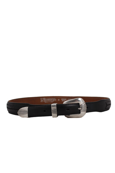 noconya belt co. embellished black leather belt. features tonal braiding detail at outer and silver-toned, etched buckle closure.