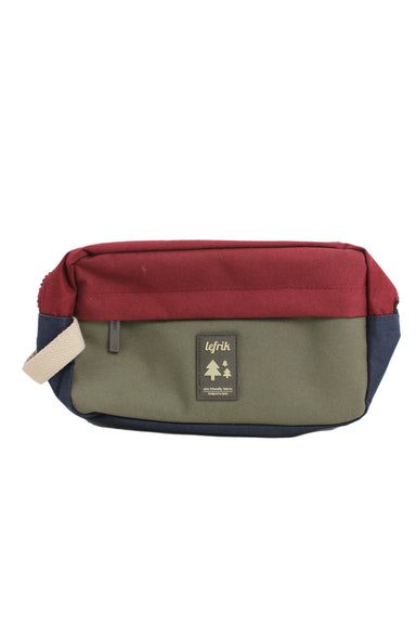 lefrik eco friendly green blue & burgundy colorblock bag. features two zipper pockets, internal net lined pockets, back slot pocket, & a tab handle.