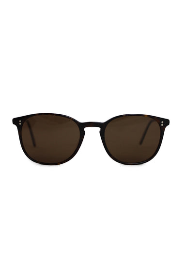oliver peoples brown sunglasses. features a tortoise design, and round and amber lenses.