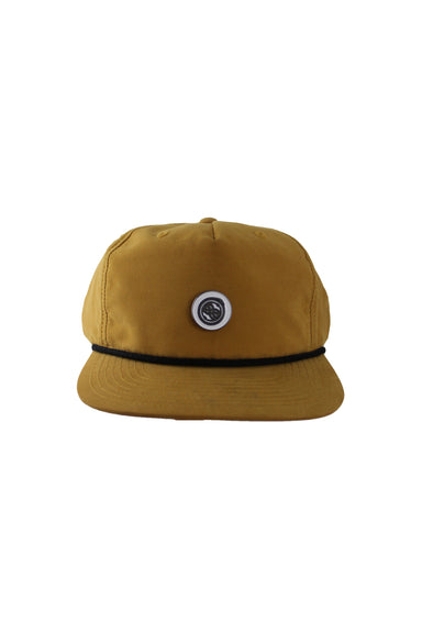 richardson spicy mustard yellow six panel hat. features optional logo pin at front with yellow eyelet behind, black accent rope at brim, and branding at adjustable snapback closure.