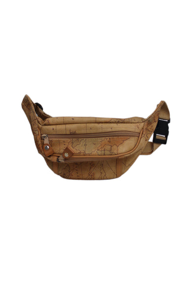 unlabeled beige fanny pack. features map graphics throughout with top zip main pocket, front zip slot pocket, and adjustable strap/clasp closure at back.