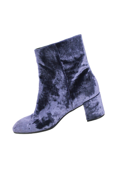 "m.gemi ""corsa"" boot in blue velvet. features crushed velvet blue upper, zipper closure, oval toe, black leather lining, and leather and rubber sole."