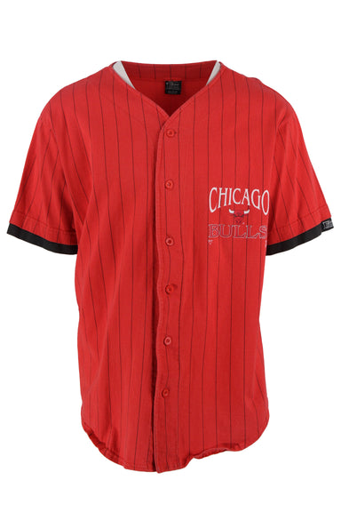 salem sportswear red baseball jersey. features chicago bulls logo & branding on chest & back, a v neckline, & layered short sleeves. button down closure.