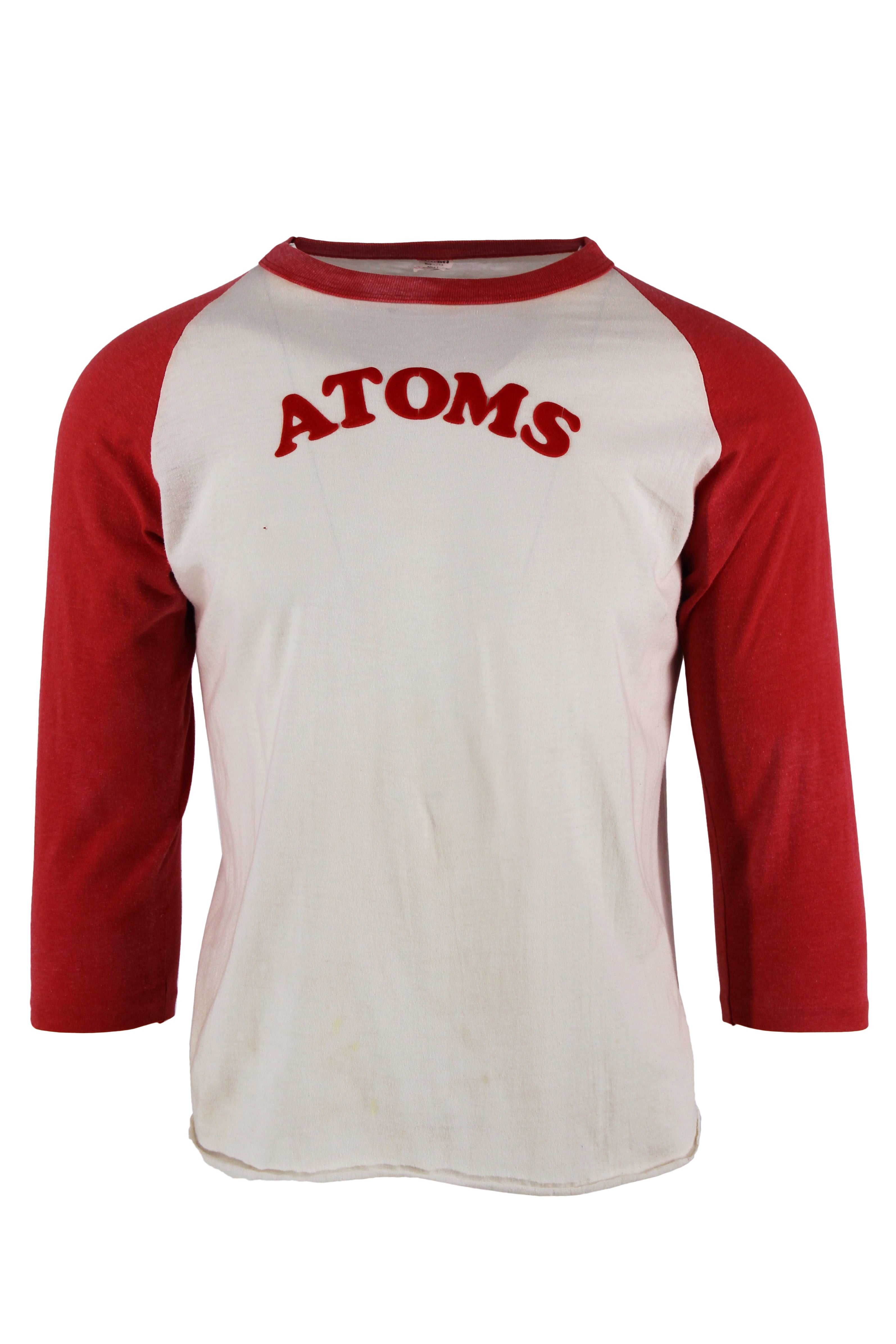 vintage white and red baseball t-shirt. features atoms lettering in red velvet at the chest.