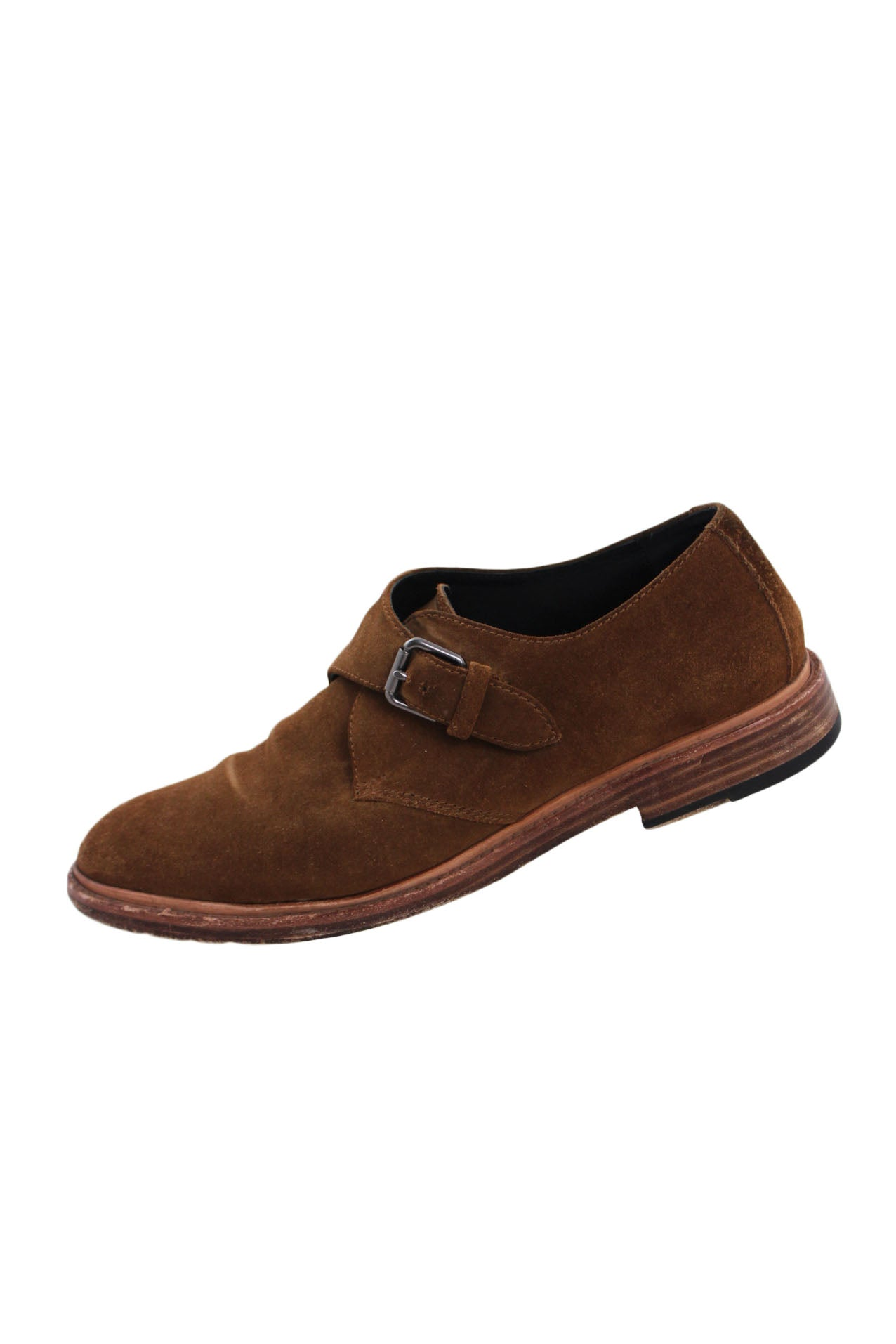 "coach brown suede round toe shoes. features a single monk strap buckle closure with top stitched sole. heel measures ~ 1""."