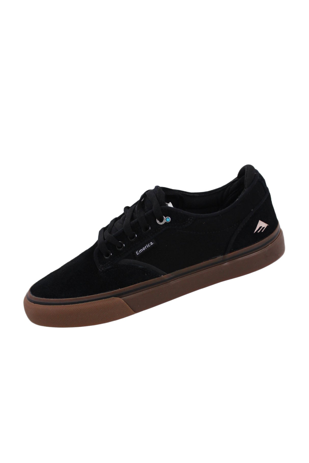 emerica black low top sneakers. features a suede upper and a subtle turquoise bead on the side of each shoe (facing outwards) by the laces.