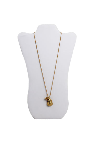 eva segoura gold tone snail necklace. features five blue swarovski crystals embedded on the pendant and snake chain with lobster claw clasp.