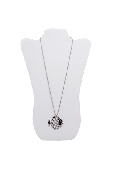 eva segoura silver fish pendant necklace. features swarovski crystal eye and metal wrapped chain.