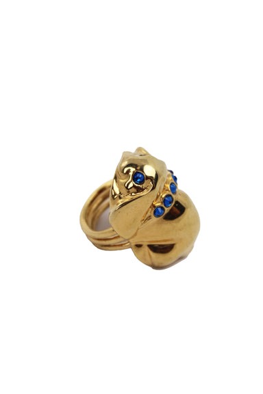 eva segoura gold plated bunny ring. featuring royal blue swarovski crystal adornments and mulit ring band. not adjustable.