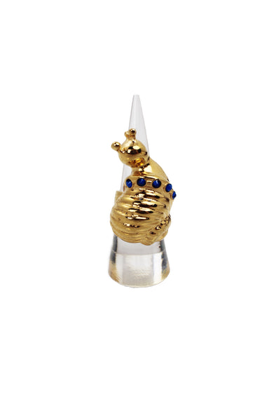 eva segoura gold tone proud snail ring. features five blue swarovski crystals embedded on the shell of the snail pendant.