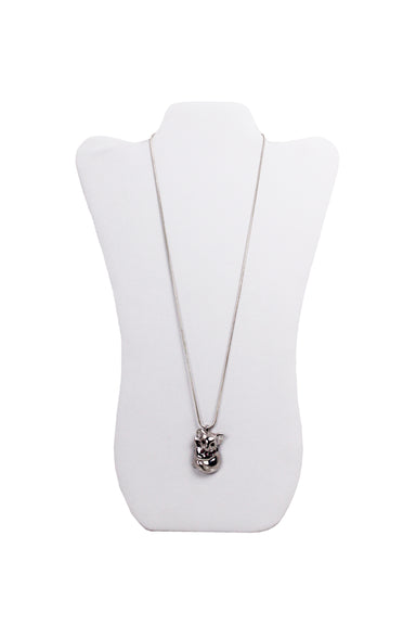 eva segoura silver tone koala bear necklace. features seven purple swarovski crystals embedded on the neck & as the eyes of koala pendant, & snake chain with lobster claw clasp.