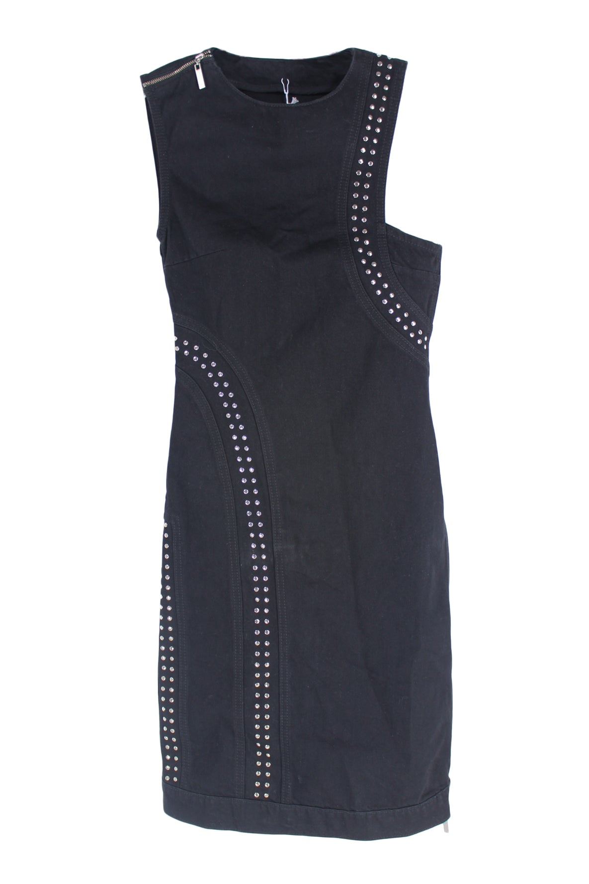 saks potts black denim sleeveless dress with asymmetrical chest & back cut out & studded curved line designs. featuring silver hardware,  paneled composition,  mid back slit, double side zip closure & shoulder strap zipper detail with branded zipper pulls. composed of a non stretch material.