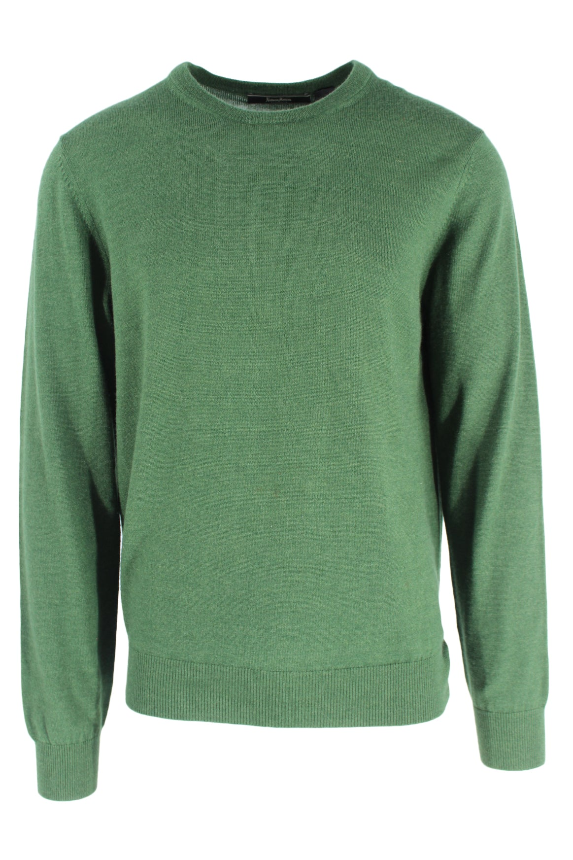 neiman marcus exclusive forest green long sleeve fine knit sweater. features a ribbed round neckline, sleeve cuffs, & hem.