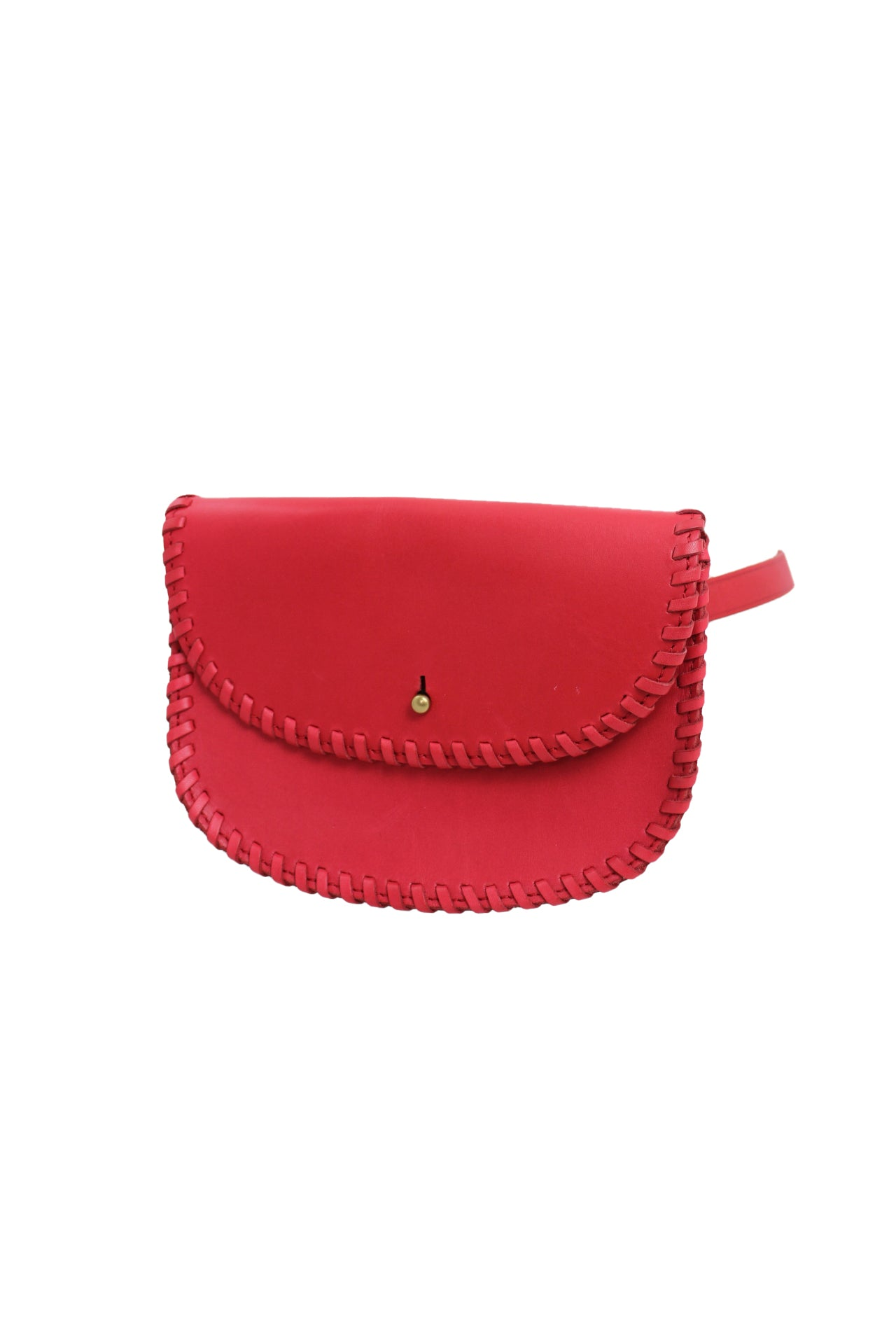 madewell red whip stitch leather waist bag. features a removable & adjustable waist strap & a button closure. labeled a size xs. please see measurements.