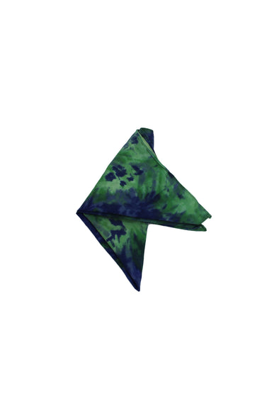 unlabeled green/blue cotton bandana. features tie dye pattern throughout.