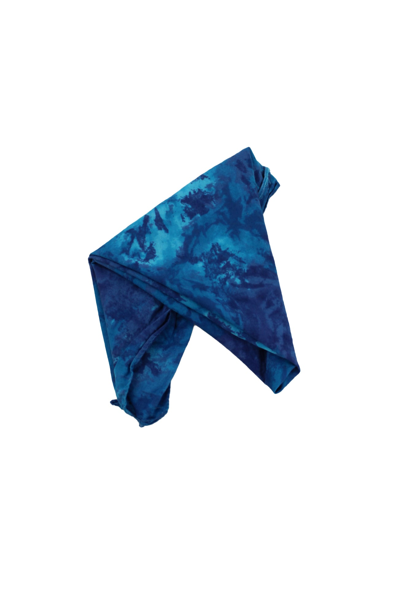 unlabeled multi blue cotton bandana. featured tie dye pattern throughout.