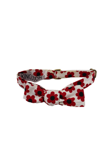 kingston twenty one white/red/black bowtie. features flower pattern throughout with adjustable sizing.
