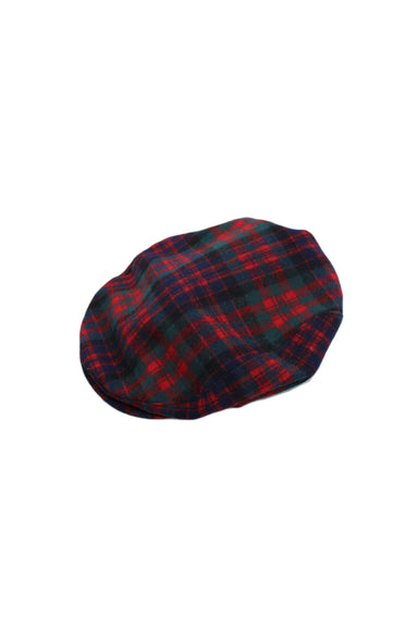 pendleton red, evergreen, navy, and black plaid flap cap. features pure virgin wool material and structured bill. fully lined.