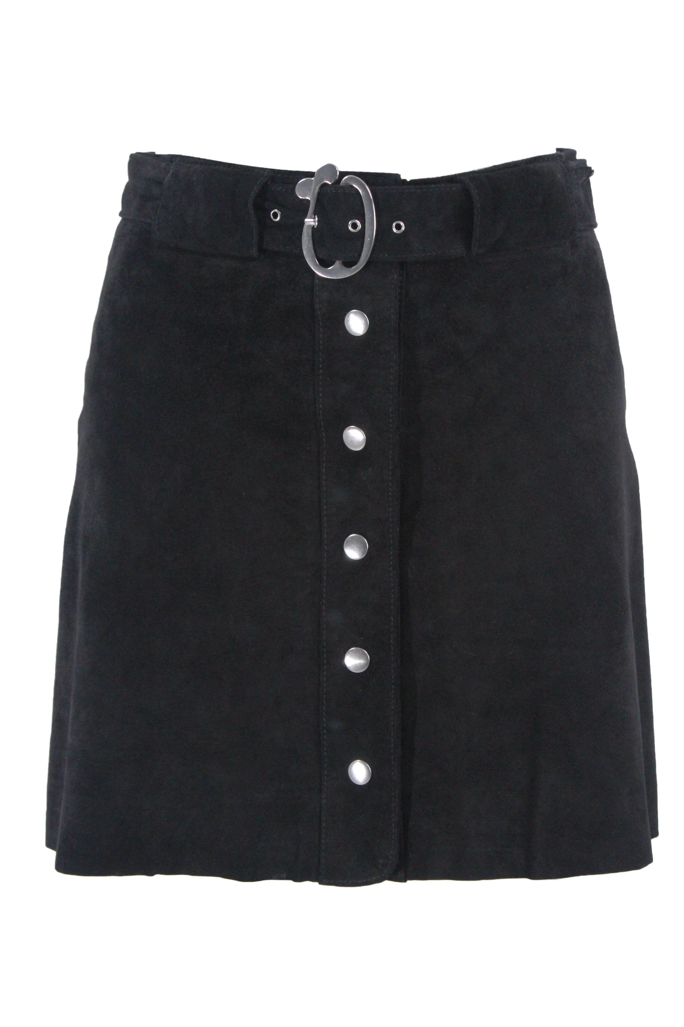 zara black suede mini skirt. features black suede exterior, silver tone button closures along front center, tonal belt with silver tone hardware and buckle and tonal interior lining.