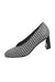 description: united nude black and white heels. featuring polka dot design and silver heel detail.