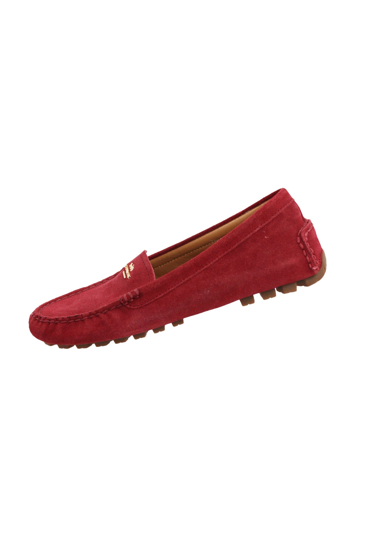 description: coach red moccasins. featuring gold metal coach logo.